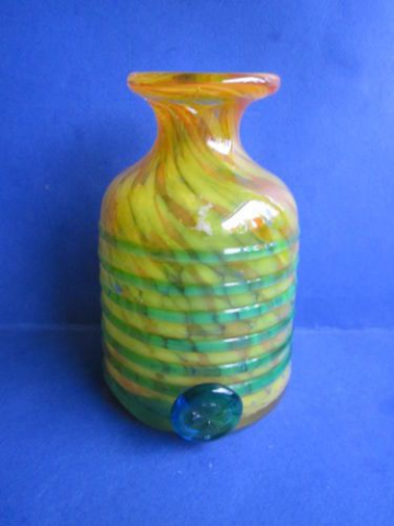 Mdina Maltese mottled orange & yellow (tiger like pattern) glass vase with applied blue glass trail